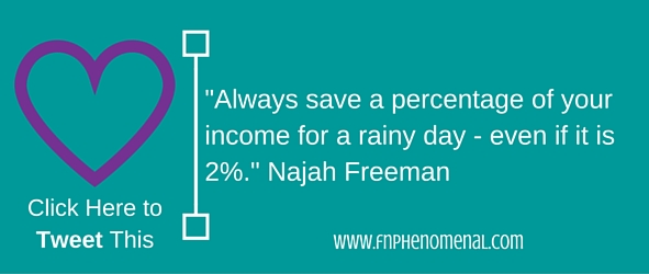 SIngle mom financial advice: always save a percentage of your income - even if it is not a lot