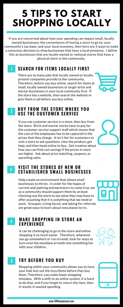 If you are concerned about how your spending can impact small, locally owned businesses; the convenience of having a store to go to; your community's tax base; and your local economy, then here are 5 ways to make a conscious decision to shop businesses that have a local presence.  I define this as businesses that are locally owned or national stores that have a physical store in the community.